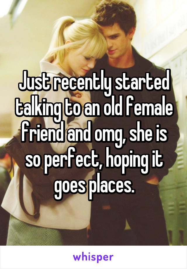 Just recently started talking to an old female friend and omg, she is so perfect, hoping it goes places.