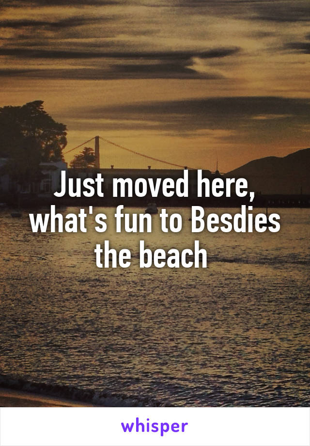 Just moved here, what's fun to Besdies the beach