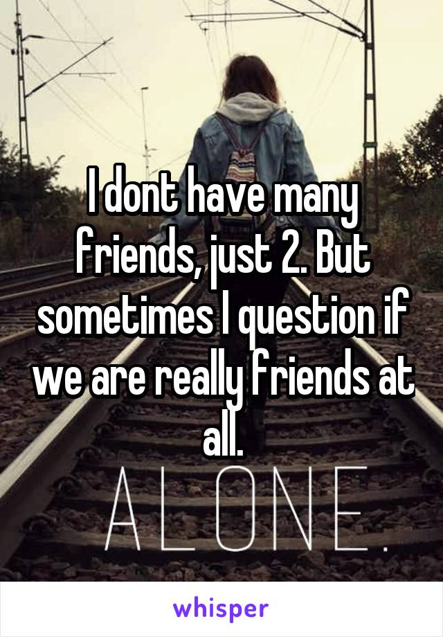 I dont have many friends, just 2. But sometimes I question if we are really friends at all.