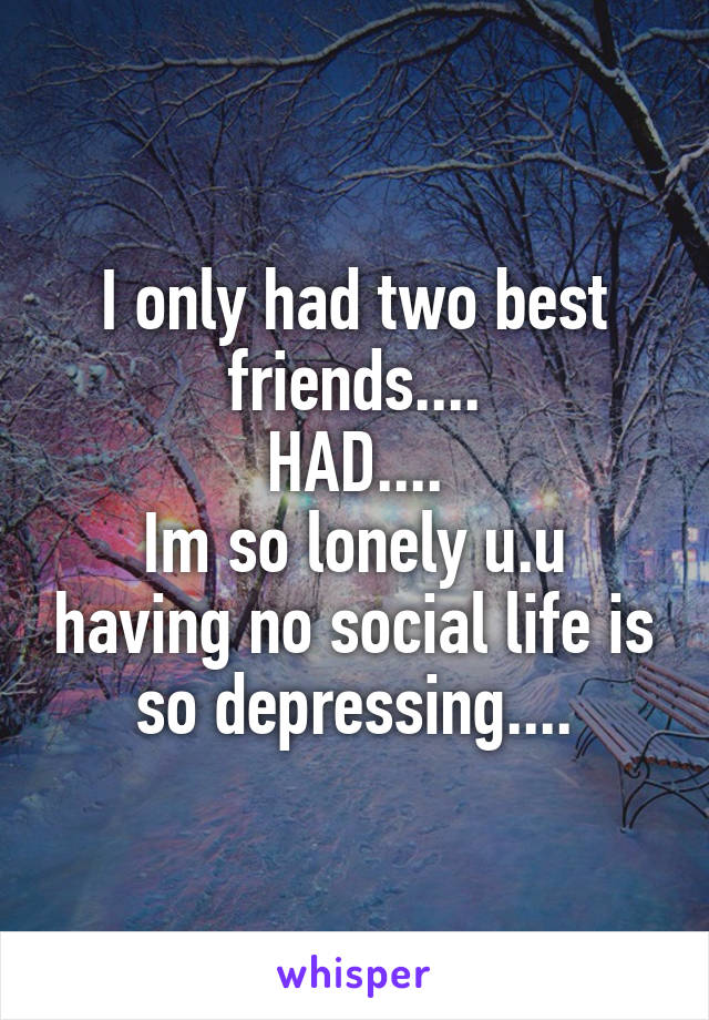 I only had two best friends.... HAD.... Im so lonely u.u having no social life is so depressing....
