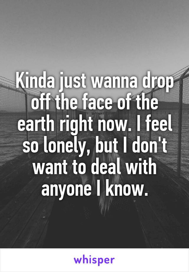 Kinda just wanna drop off the face of the earth right now. I feel so lonely, but I don't want to deal with anyone I know.