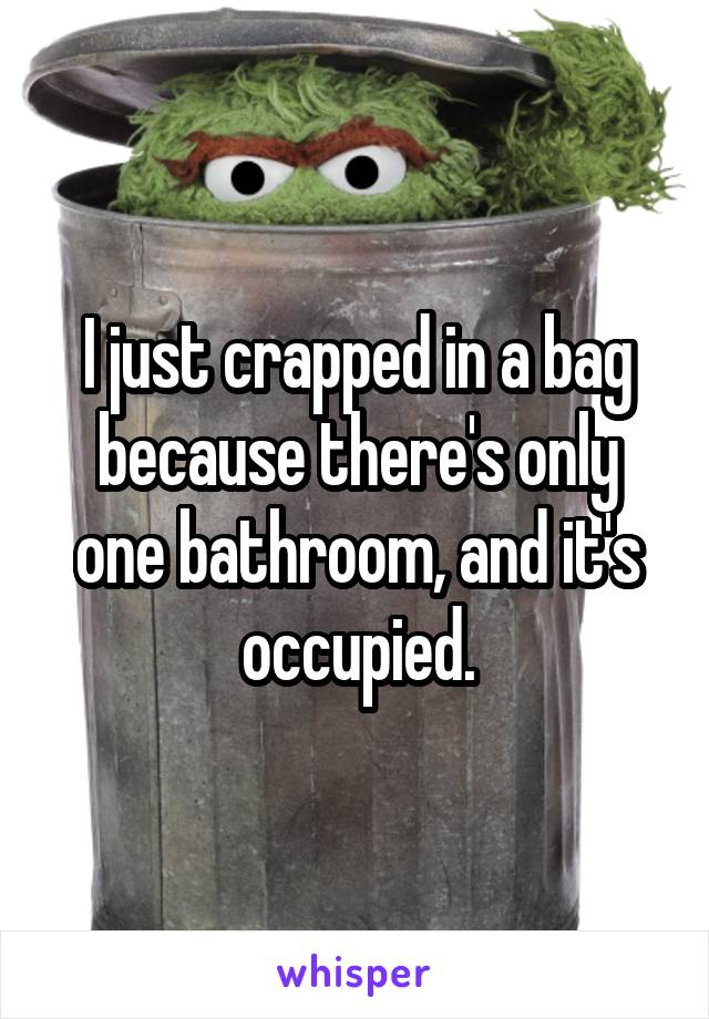 I just crapped in a bag because there's only one bathroom, and it's occupied.