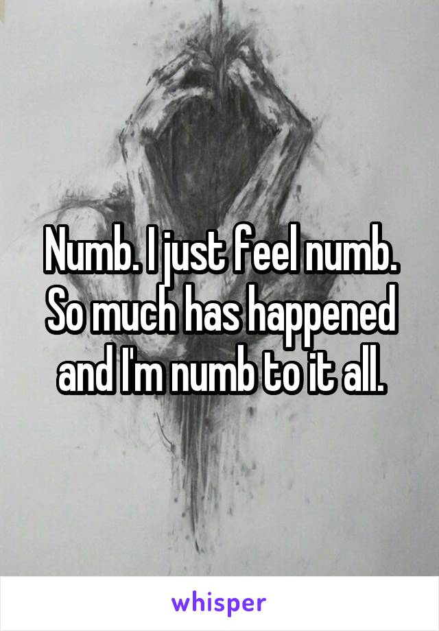 Numb. I just feel numb. So much has happened and I'm numb to it all.