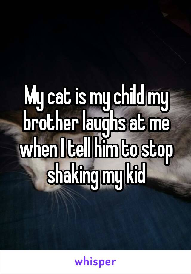 My cat is my child my brother laughs at me when I tell him to stop shaking my kid
