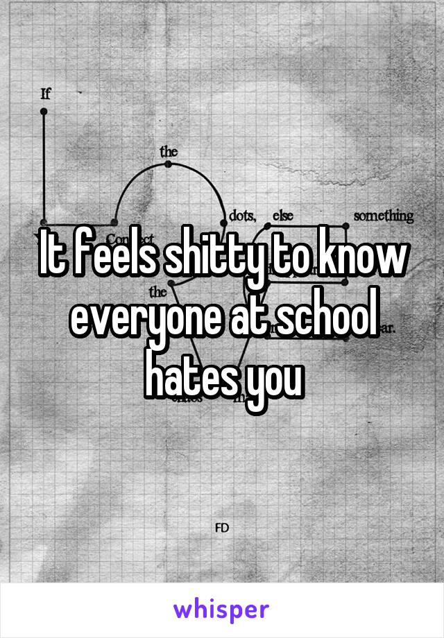 It feels shitty to know everyone at school hates you