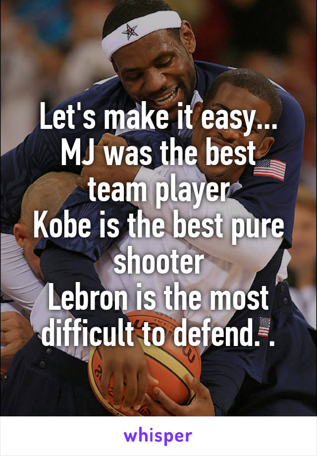 Let's make it easy... MJ was the best team player Kobe is the best pure shooter Lebron is the most difficult to defend. .