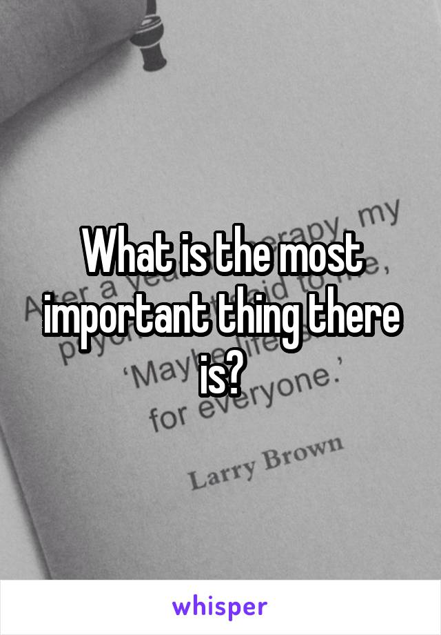 What is the most important thing there is?