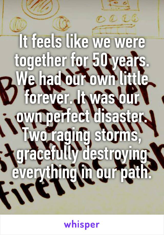 It feels like we were together for 50 years. We had our own little forever. It was our own perfect disaster. Two raging storms, gracefully destroying everything in our path.