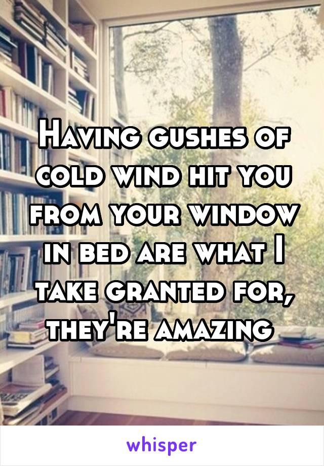 Having gushes of cold wind hit you from your window in bed are what I take granted for, they're amazing