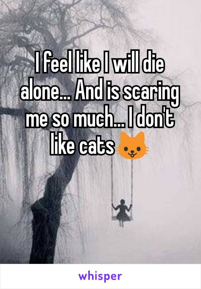 I feel like I will die alone... And is scaring me so much... I don't like cats🐱
