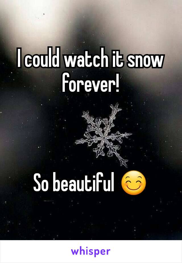 I could watch it snow forever!    So beautiful 😊