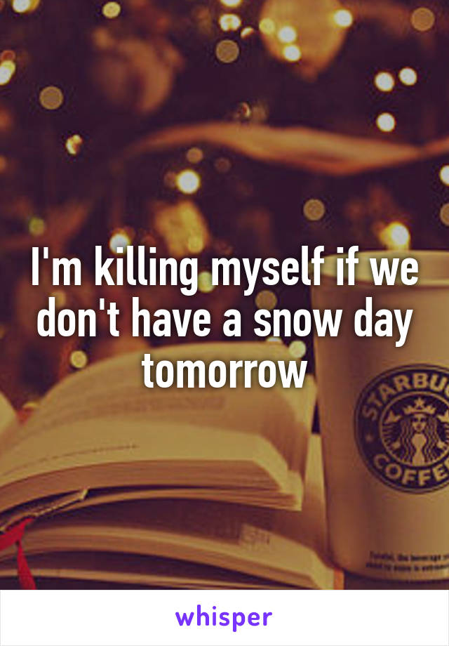 I'm killing myself if we don't have a snow day tomorrow