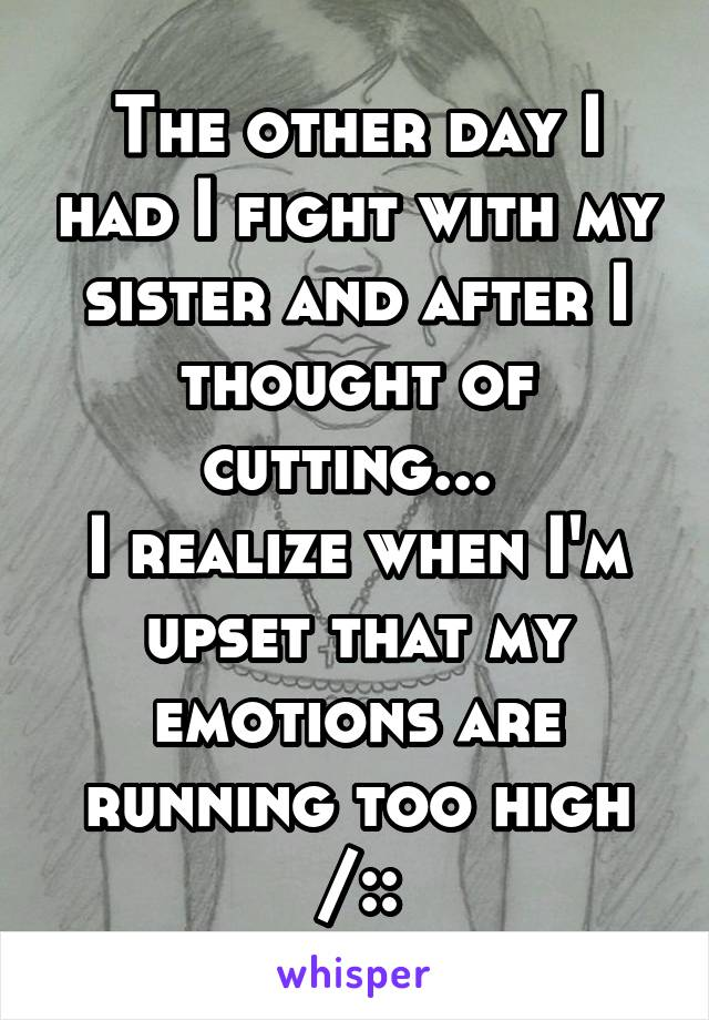 The other day I had I fight with my sister and after I thought of cutting...  I realize when I'm upset that my emotions are running too high /::