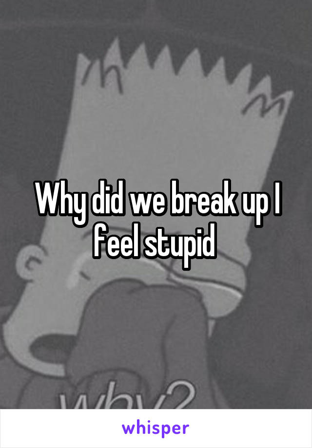 Why did we break up I feel stupid