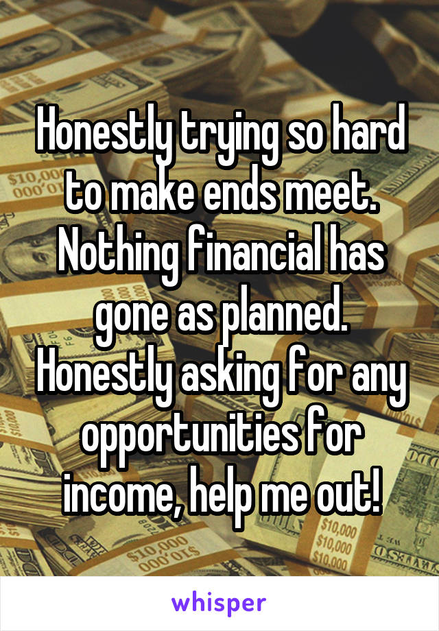 Honestly trying so hard to make ends meet. Nothing financial has gone as planned. Honestly asking for any opportunities for income, help me out!