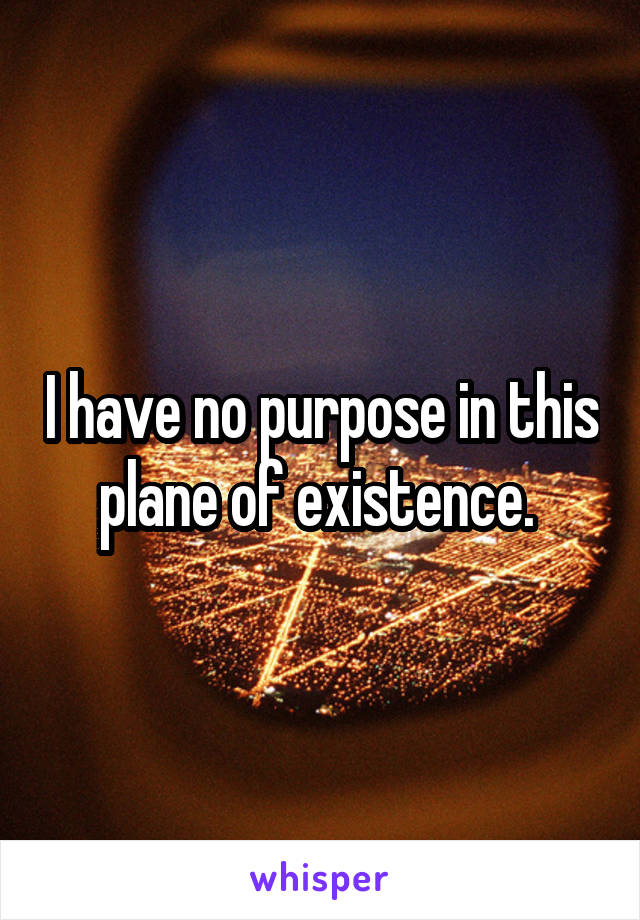 I have no purpose in this plane of existence.