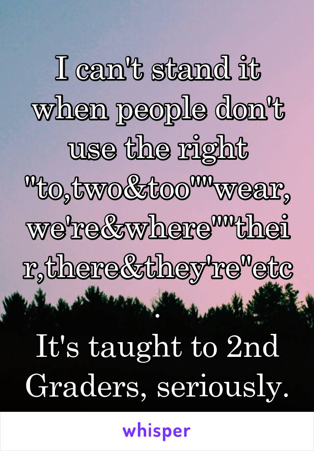 """I can't stand it when people don't use the right """"to,two&too""""""""wear,we're&where""""""""their,there&they're""""etc. It's taught to 2nd Graders, seriously."""