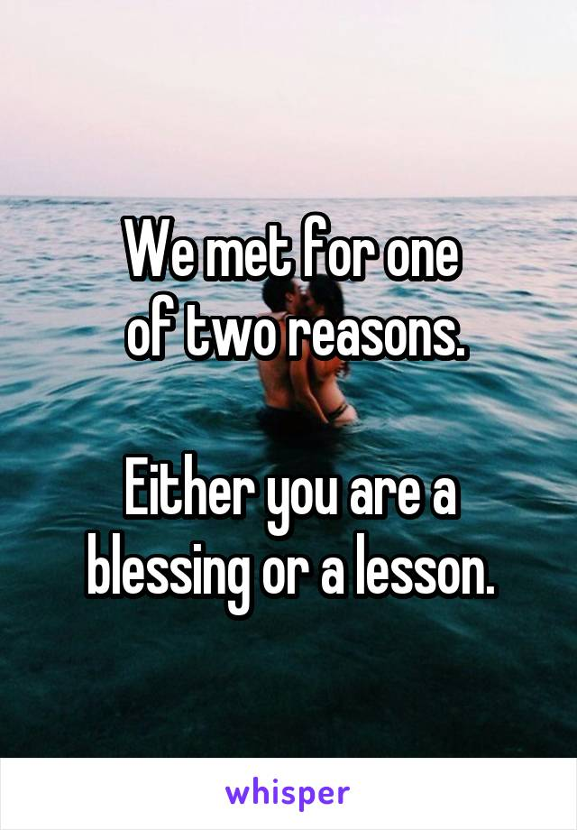 We met for one  of two reasons.  Either you are a blessing or a lesson.