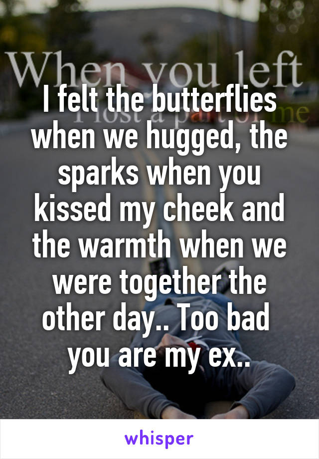 I felt the butterflies when we hugged, the sparks when you kissed my cheek and the warmth when we were together the other day.. Too bad  you are my ex..