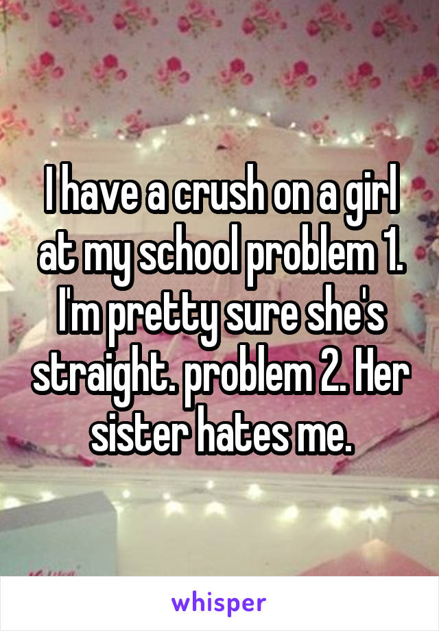 I have a crush on a girl at my school problem 1. I'm pretty sure she's straight. problem 2. Her sister hates me.