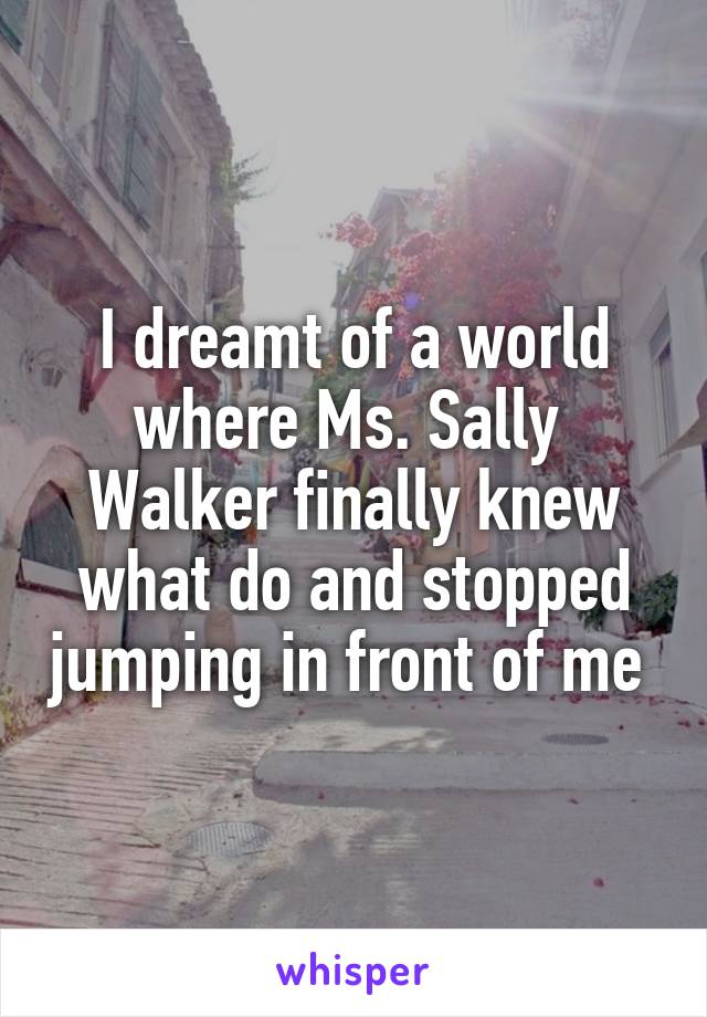 I dreamt of a world where Ms. Sally  Walker finally knew what do and stopped jumping in front of me