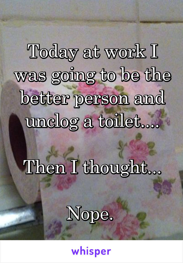 Today at work I was going to be the better person and unclog a toilet....  Then I thought...  Nope.
