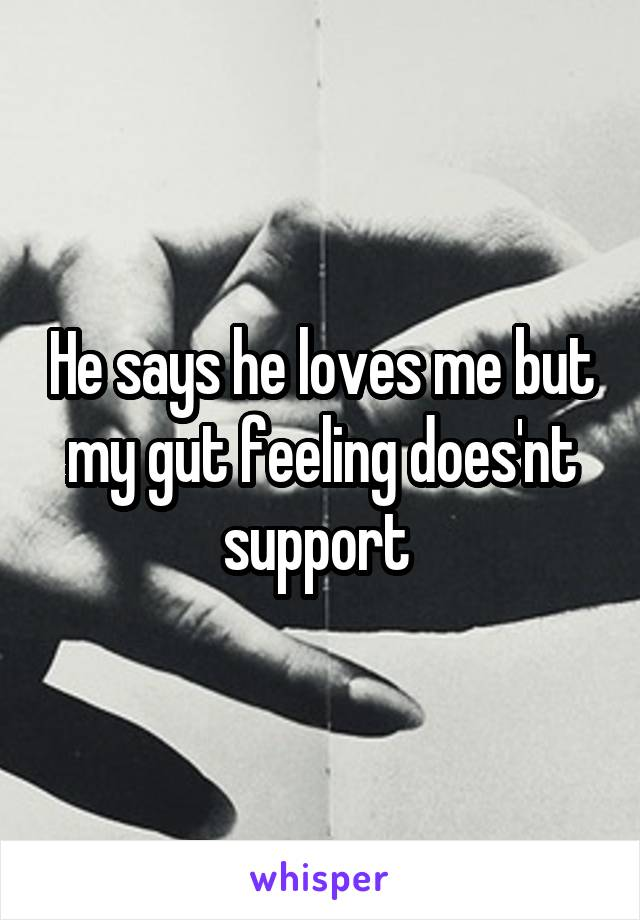 He says he loves me but my gut feeling does'nt support