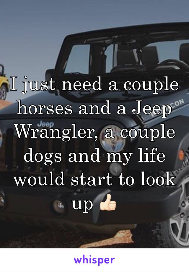 I just need a couple horses and a Jeep Wrangler, a couple dogs and my life would start to look up 👍🏻