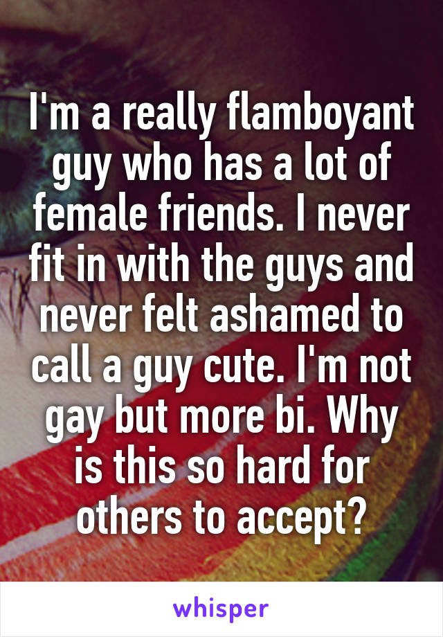 I'm a really flamboyant guy who has a lot of female friends. I never fit in with the guys and never felt ashamed to call a guy cute. I'm not gay but more bi. Why is this so hard for others to accept?