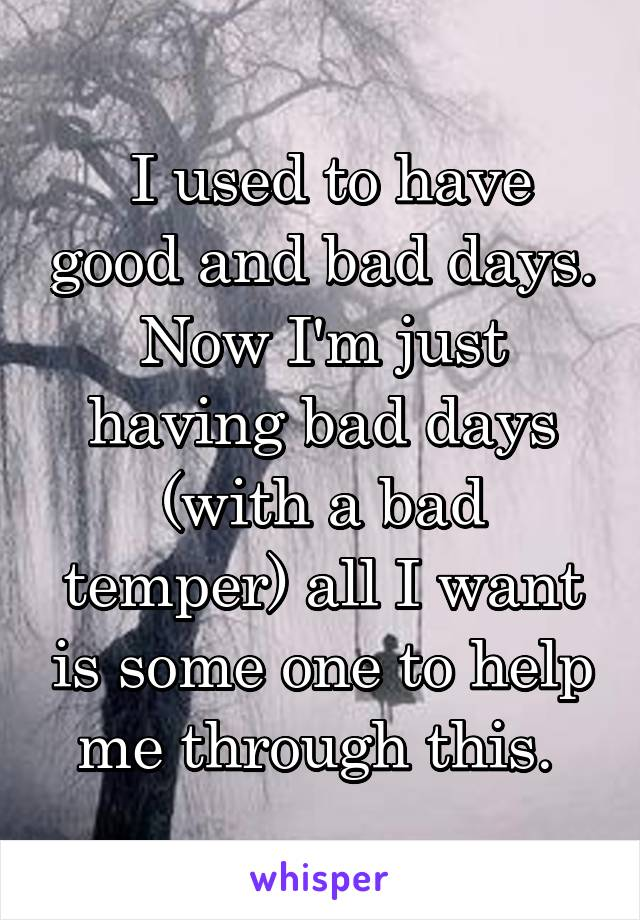I used to have good and bad days. Now I'm just having bad days (with a bad temper) all I want is some one to help me through this.