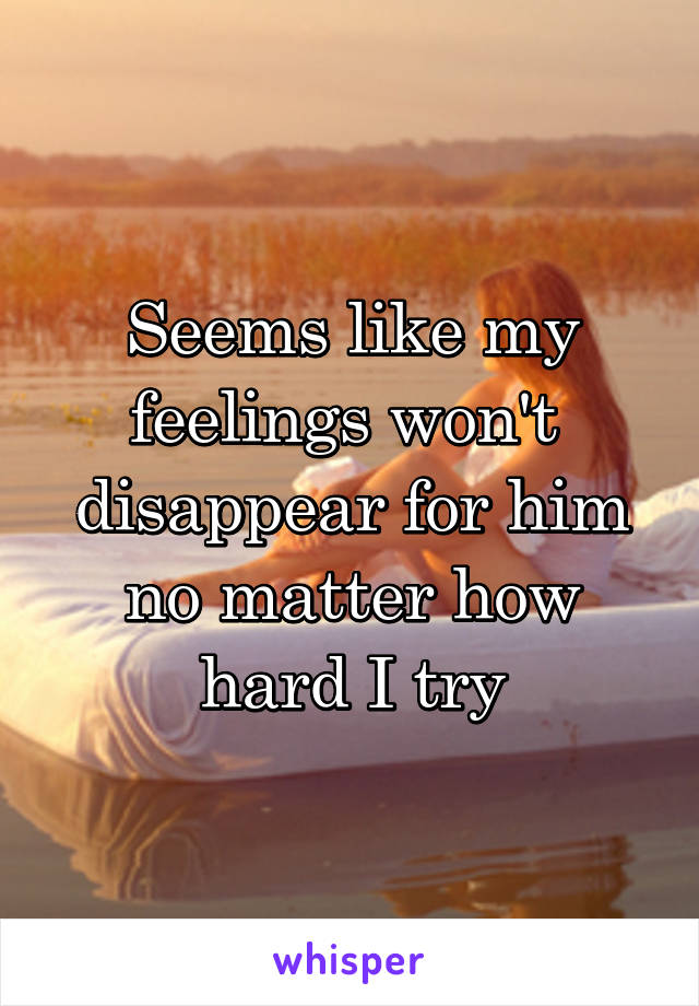Seems like my feelings won't  disappear for him no matter how hard I try