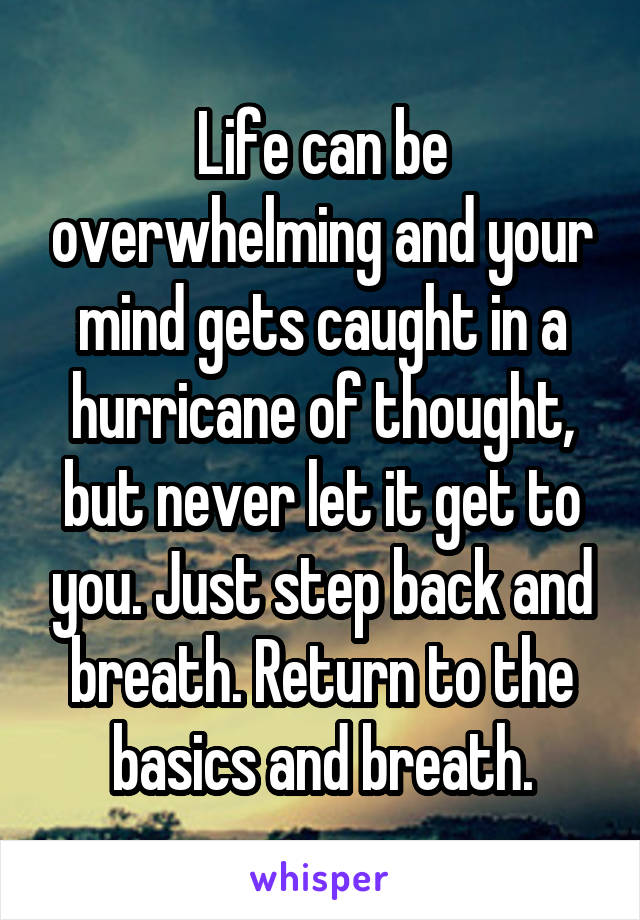 Life can be overwhelming and your mind gets caught in a hurricane of thought, but never let it get to you. Just step back and breath. Return to the basics and breath.
