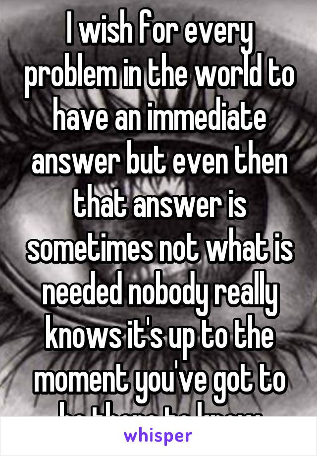 I wish for every problem in the world to have an immediate answer but even then that answer is sometimes not what is needed nobody really knows it's up to the moment you've got to be there to know