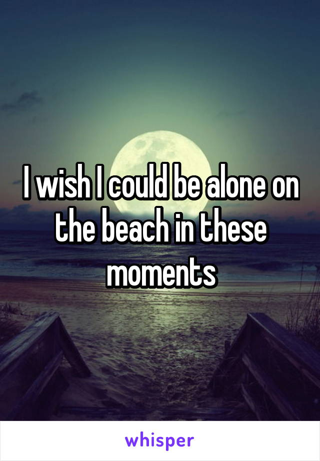 I wish I could be alone on the beach in these moments
