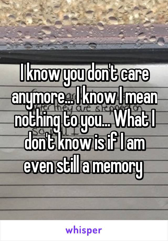 I know you don't care anymore... I know I mean nothing to you... What I don't know is if I am even still a memory