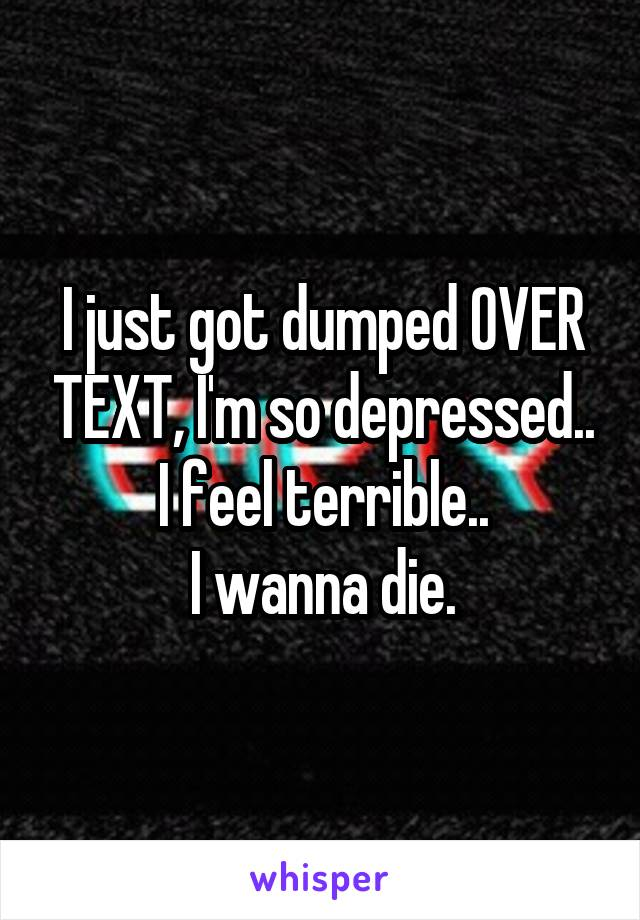 I just got dumped OVER TEXT, I'm so depressed.. I feel terrible.. I wanna die.