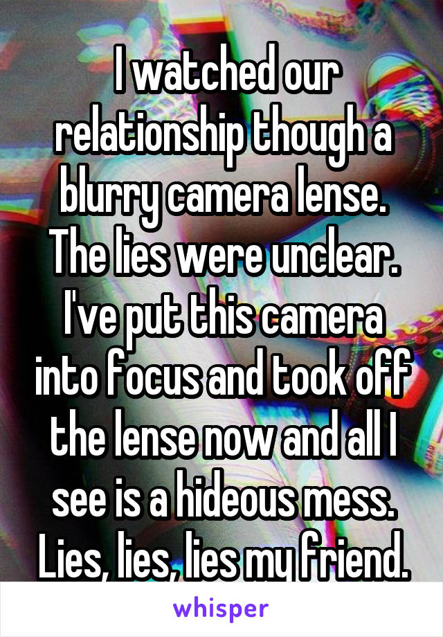 I watched our relationship though a blurry camera lense. The lies were unclear. I've put this camera into focus and took off the lense now and all I see is a hideous mess. Lies, lies, lies my friend.