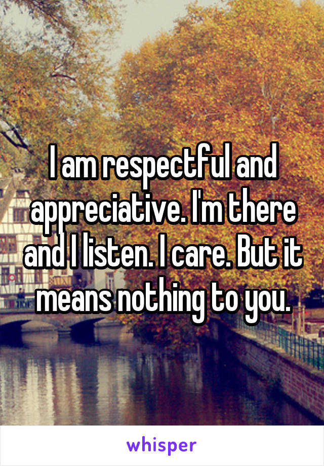 I am respectful and appreciative. I'm there and I listen. I care. But it means nothing to you.