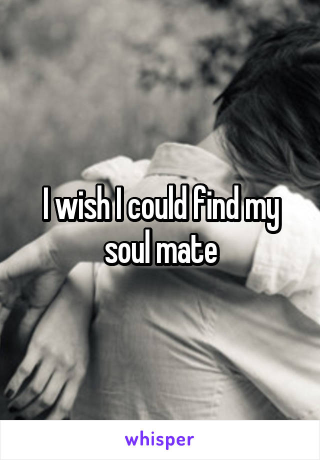 I wish I could find my soul mate