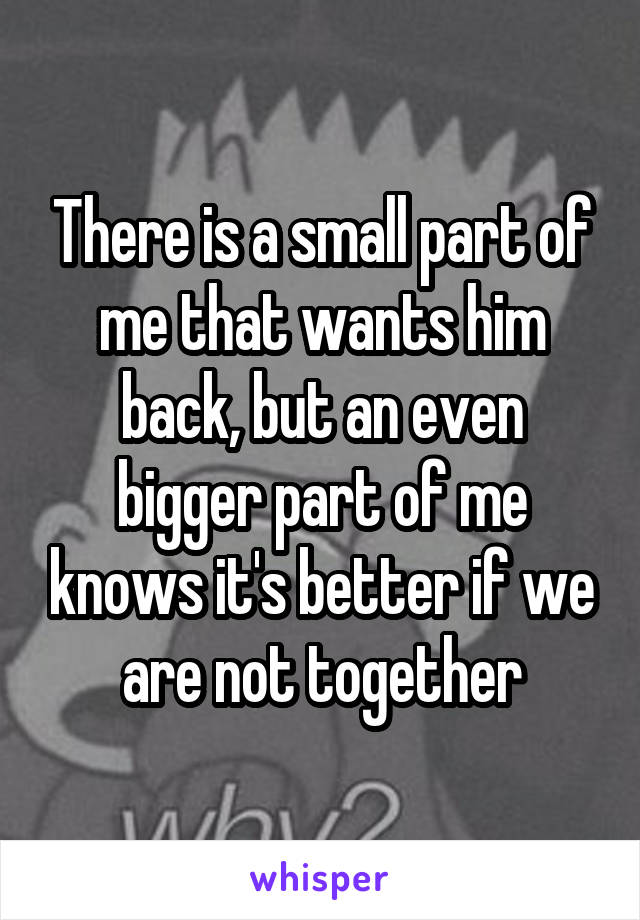 There is a small part of me that wants him back, but an even bigger part of me knows it's better if we are not together