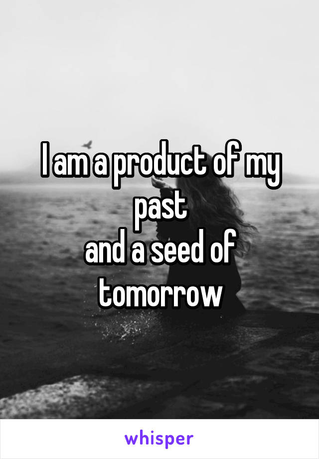 I am a product of my past and a seed of tomorrow