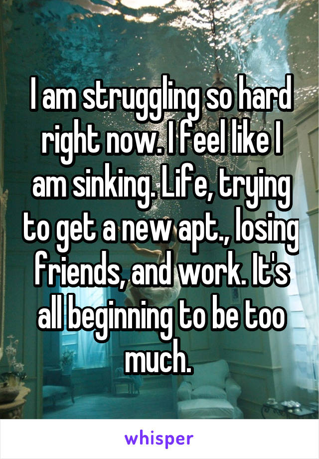 I am struggling so hard right now. I feel like I am sinking. Life, trying to get a new apt., losing friends, and work. It's all beginning to be too much.