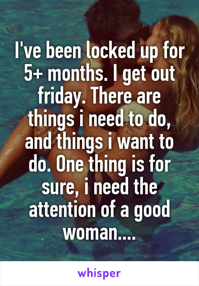 I've been locked up for 5+ months. I get out friday. There are things i need to do, and things i want to do. One thing is for sure, i need the attention of a good woman....