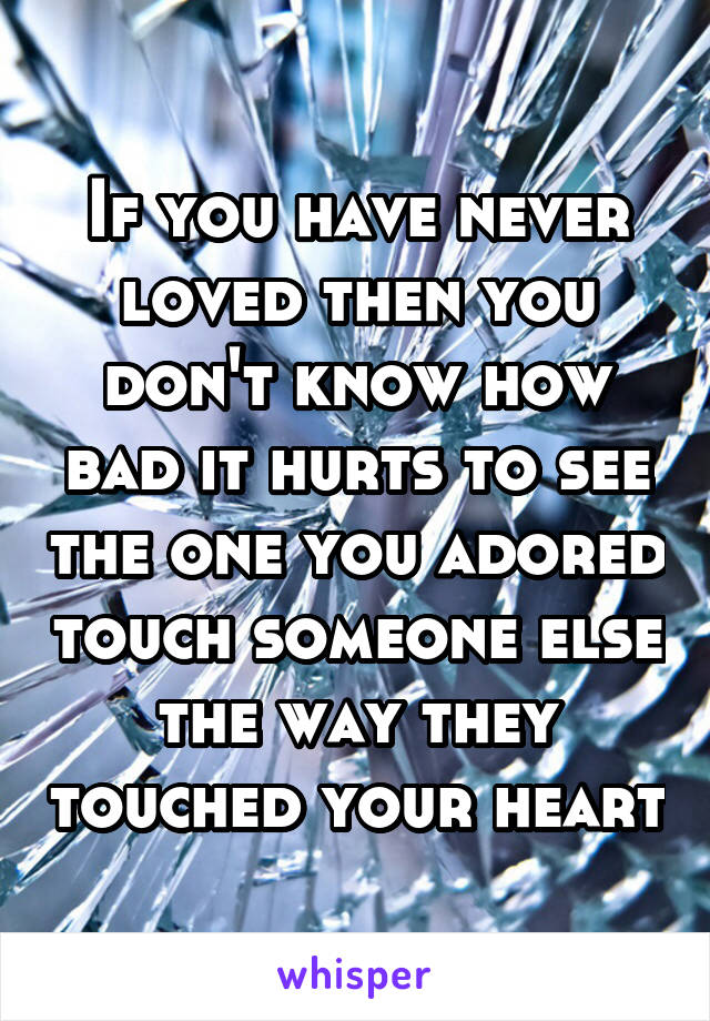 If you have never loved then you don't know how bad it hurts to see the one you adored touch someone else the way they touched your heart