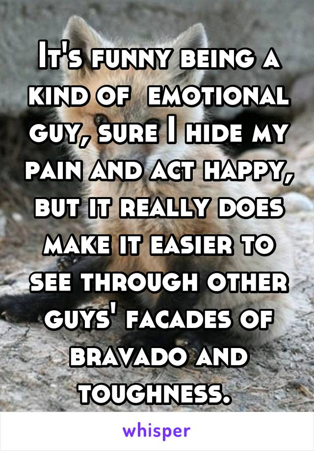 It's funny being a kind of  emotional guy, sure I hide my pain and act happy, but it really does make it easier to see through other guys' facades of bravado and toughness.