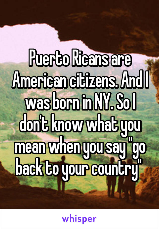 "Puerto Ricans are American citizens. And I was born in NY. So I don't know what you mean when you say ""go back to your country"""
