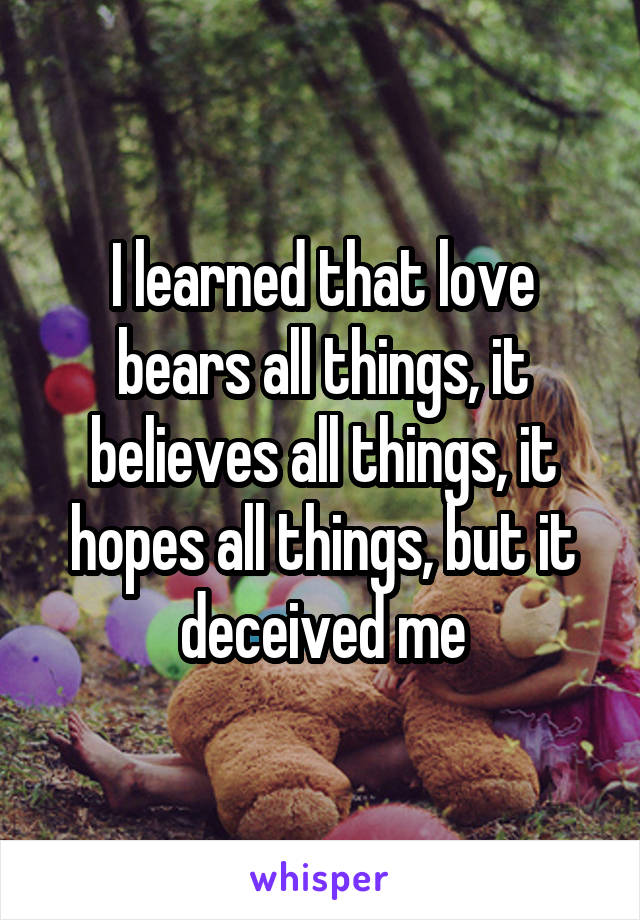 I learned that love bears all things, it believes all things, it hopes all things, but it deceived me
