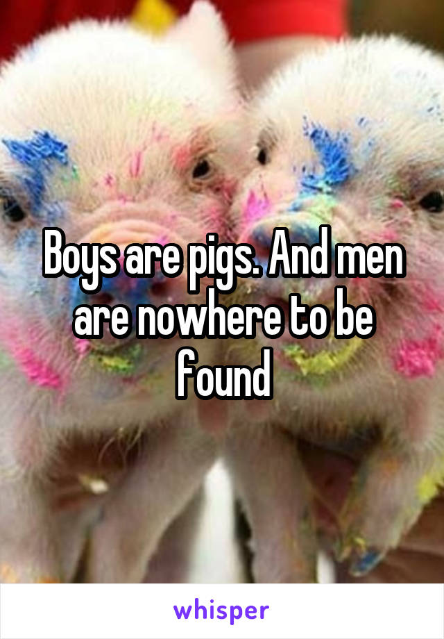 Boys are pigs. And men are nowhere to be found
