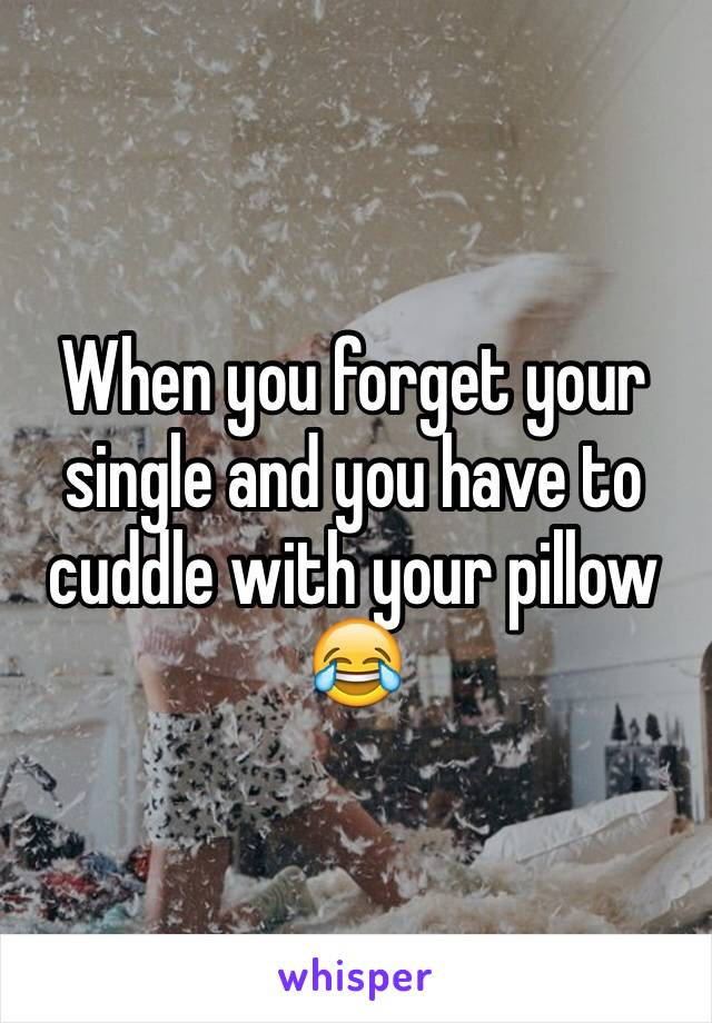 When you forget your single and you have to cuddle with your pillow 😂