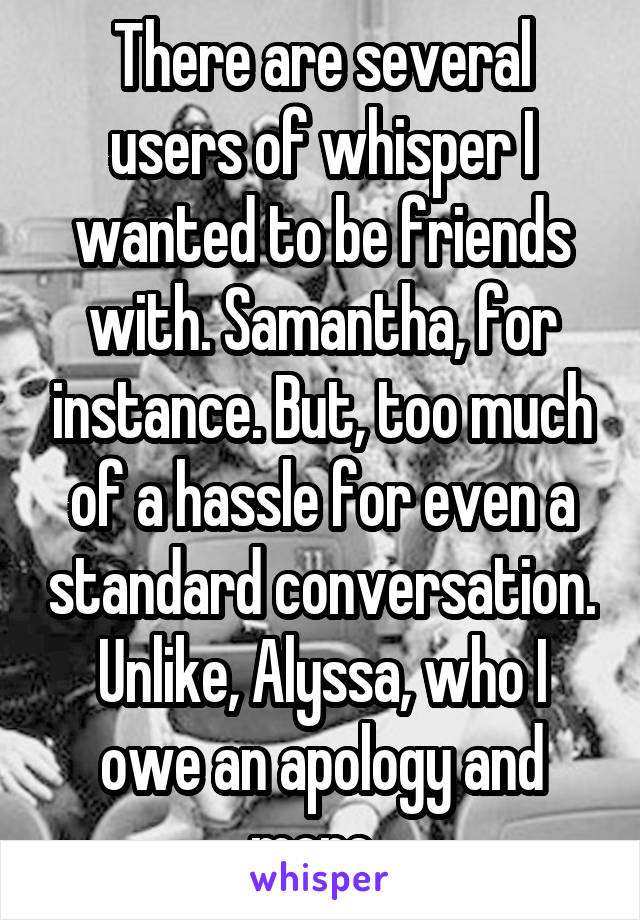 There are several users of whisper I wanted to be friends with. Samantha, for instance. But, too much of a hassle for even a standard conversation. Unlike, Alyssa, who I owe an apology and more.